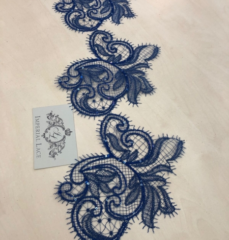 Zilas krāsas macrame mežģīnes maliņa ar fliteriem. Photo 7