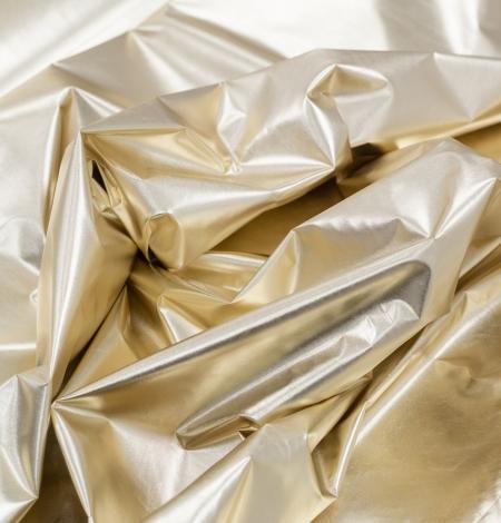 Zelta krāsas spīdīgs lietusmēteļu audums. Photo 5