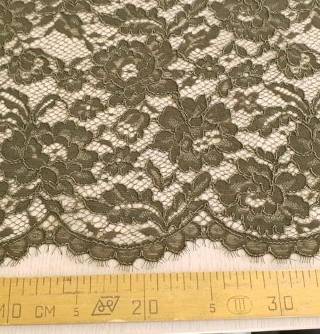 Dark haki green guipue lace fabric. Photo 9