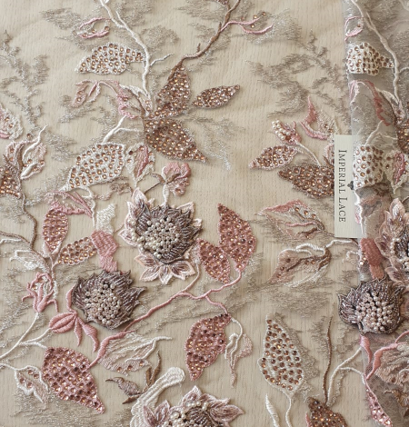 Veci rozā ziedu biezs izšuvums ar plāno mežģīni uz tilla. Photo 7