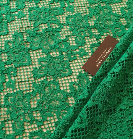 Green guipure lace fabric. Photo 3
