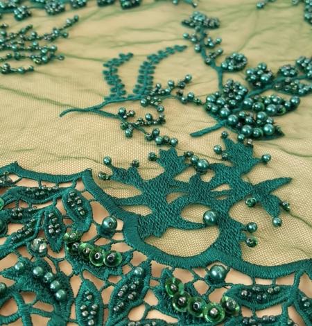 Zaļš pērļots mežģīņu audums. Photo 2