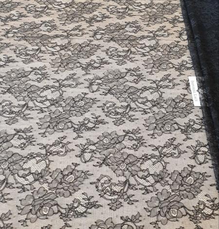 Melna Elastīga Chantilly mežģīne. Photo 6