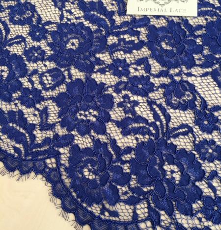 Karaliski zila puķaina biezs mežģīņu audums. Photo 2