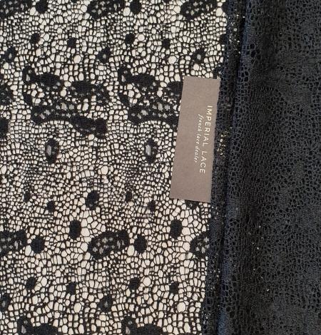Black interesting design viscose guipure lace fabric . Photo 2