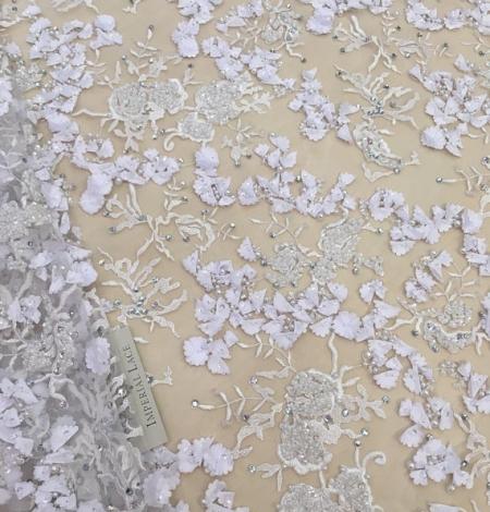 Balts 3D ziedu raksta mežģīņu audums. Photo 1