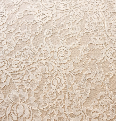 Ecru 100% polyester floral and stripes guipure lace fabric. Photo 3