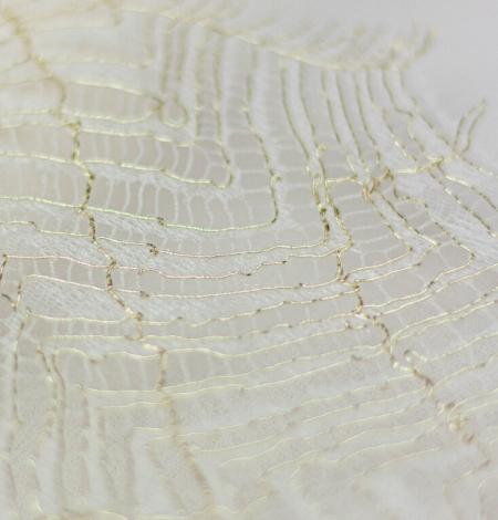 Ziloņkaula ar zelta diegu organisks raksta chantilly mežģīņu apdare. Photo 3