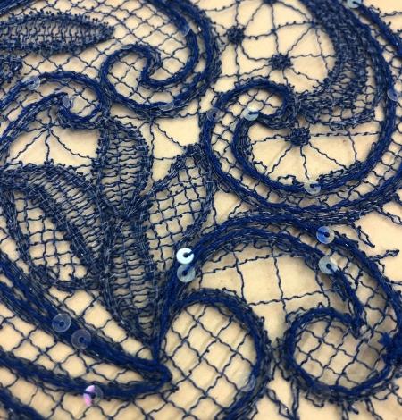 Zilas krāsas macrame mežģīnes maliņa ar fliteriem. Photo 2