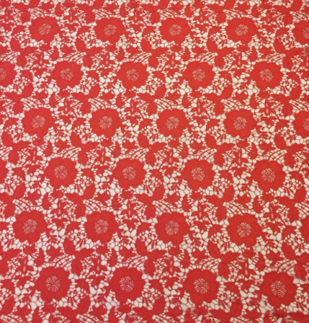 Coral orange macrame lace fabric. Photo 2