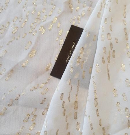 Ziloņkaula ar zelta deteļām zīda crepe šifona audums. Photo 1