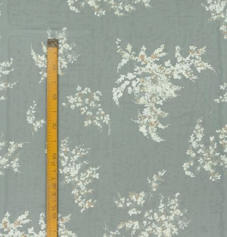 Pelēks ar ziedu rakstu krepe šifona audums. Photo 10