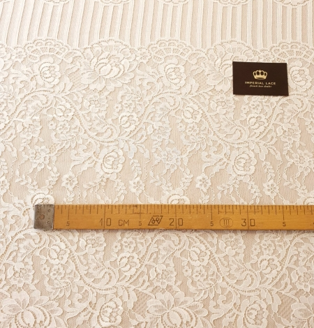 Ecru 100% polyester floral and stripes guipure lace fabric. Photo 11