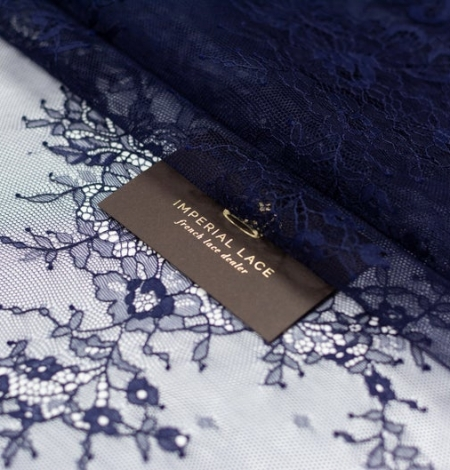 Tumši zils chantilly mežģīņu audums. Photo 1