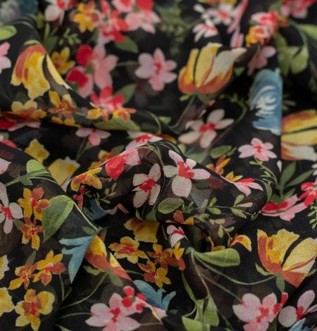 Melns ar daudzkrāsu ziedu rakstu poliestera šifona audums . Photo 5