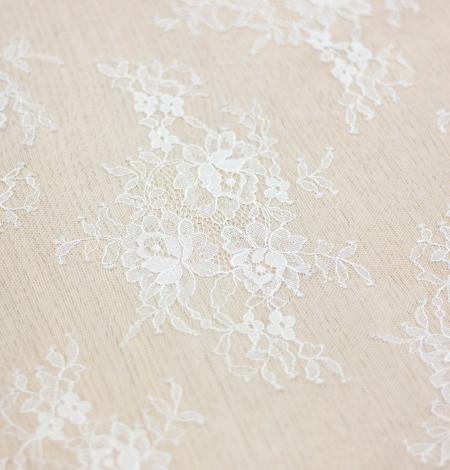 Piena balta ziedu raksta chantilly mežģīņu audums. Photo 6