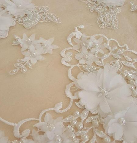 Ziloņkaula 3D zieda rakstu mežģīņu audums. Photo 2