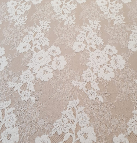 Off White  guipure with chantilly pattern lace fabric. Photo 7