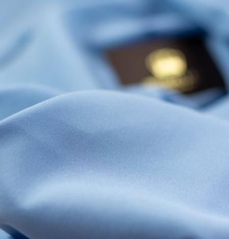Zils zīda un elastāna krepa audums. Photo 7