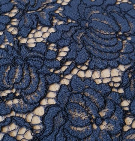 Dark blue cord thread lace fabric. Photo 4