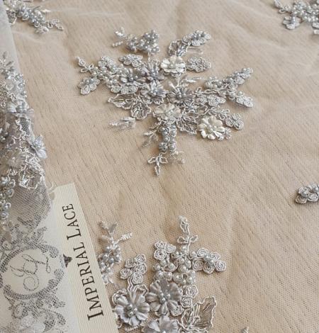 Pelēka 3D pērļots mežģīņu audums. Photo 6