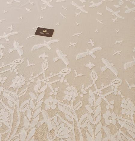 Ziloņkaula puķaina Chantilly mežģine. Photo 3