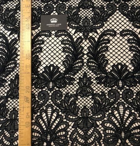Black macrame thick guipure lace fabric. Photo 8