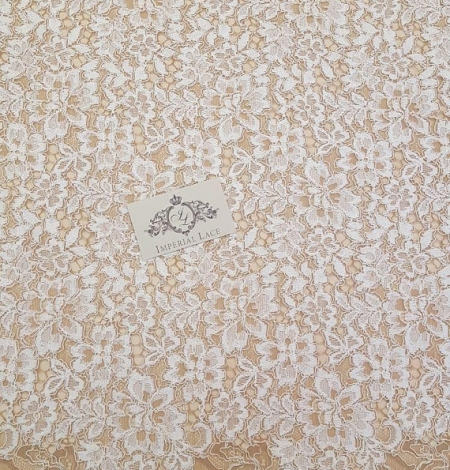 Ivory with Brown Lace Fabric. Photo 4
