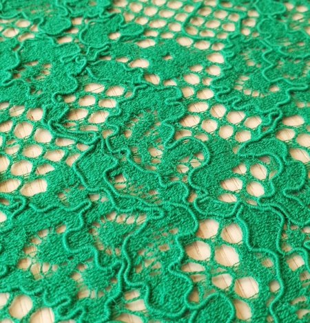 Green guipure lace fabric. Photo 4