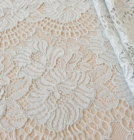 Light grey with bluish green guipure lace fabric. Photo 2