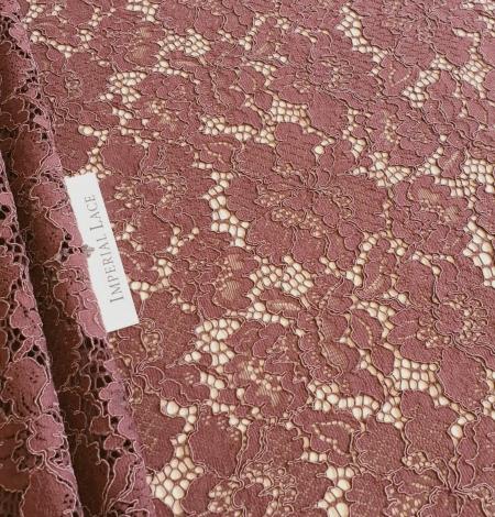 Reddish brown guipure lace fabric. Photo 1