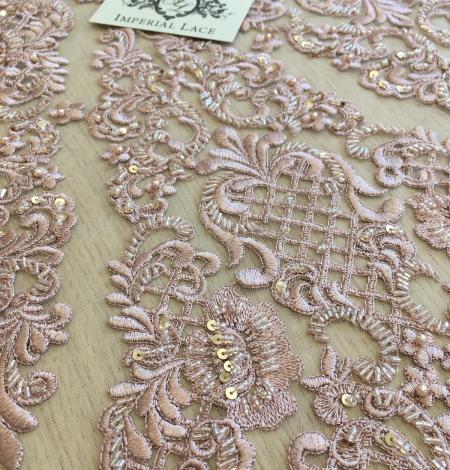 Veci rozā pērļots izšuvums mežģīņu audums. Photo 3