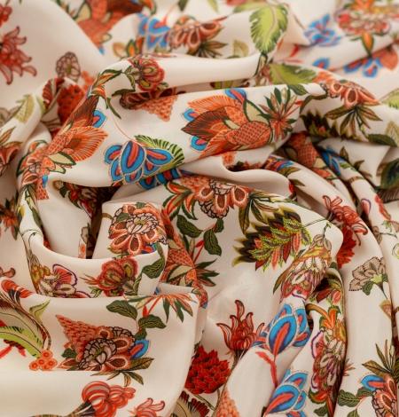 Daudzkrāsu ziedu printēts zīda krepa audums. Photo 4