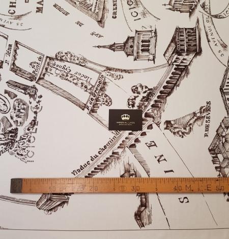 Ziloņkaula ar vecpilsētas zīmējumu ar tumši brūnu zīda crepe šifona audums. Photo 7