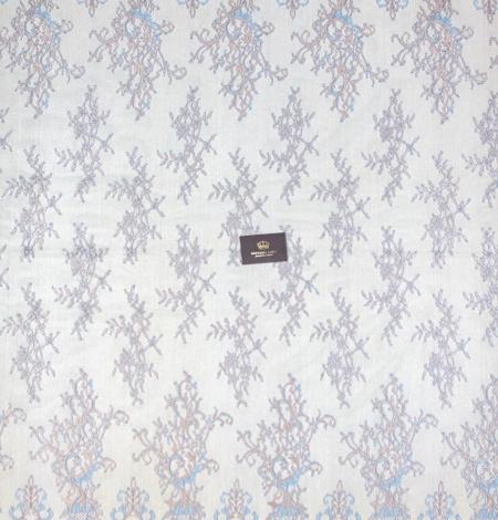 Tirkīza ar bronzu ziedu raksta chantilly mežģīņu audums. Photo 8