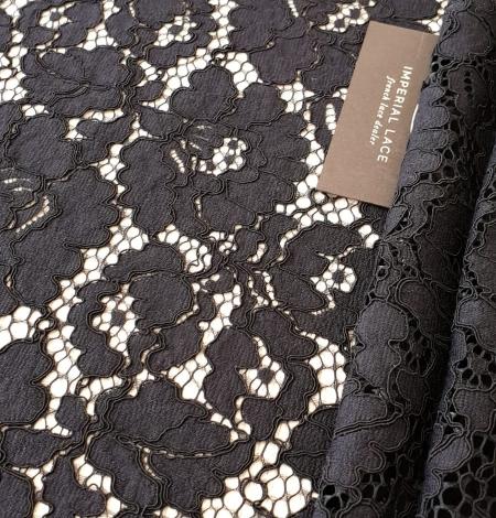 Black guipure lace fabric. Photo 4