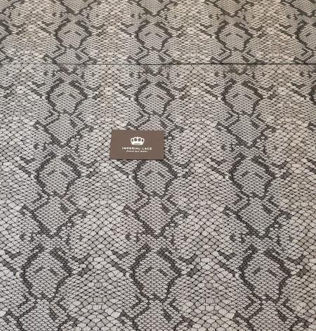 Black chantilly viscose snake pattern lace fabric . Photo 9