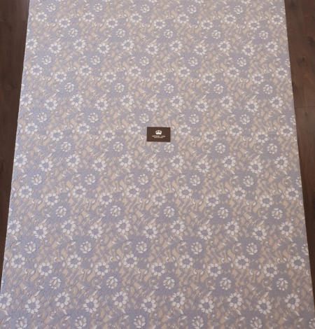 Greyish blue with white floral pattern guipure lace fabric. Photo 7