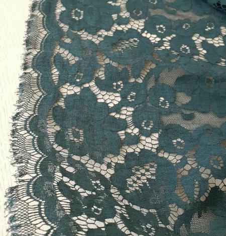 Dark green cotton guipure lace fabric. Photo 2