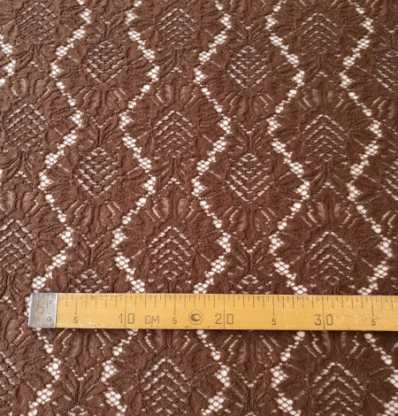 Brown floral guipure lace fabric. Photo 8