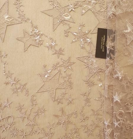 Veci rozā zvaigžņu raksts ar chantilly deteļām un fliteriem izšuvums uz tilla auduma. Photo 8