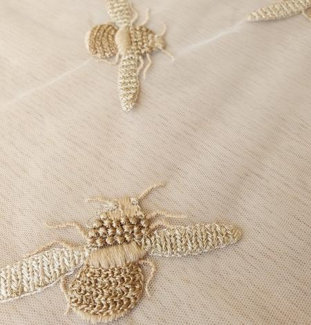 Ziloņkaula krāsas tills ar zelta bitīšu izšuvumu. Photo 3