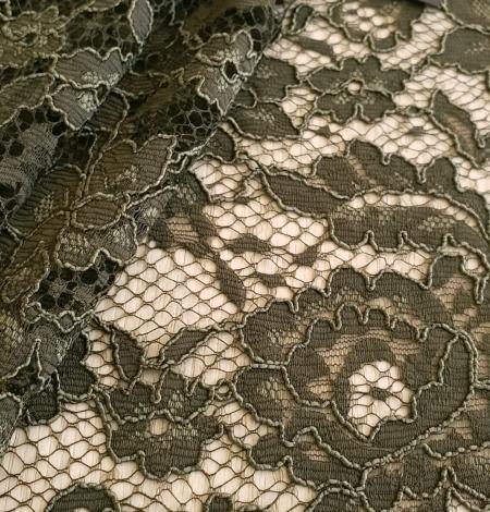 Dark haki green guipue lace fabric. Photo 2