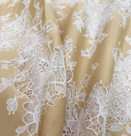 Dark beige lace fabric. Photo 3