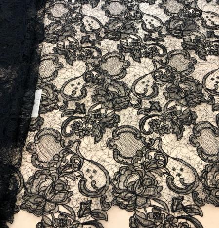 Black macrame lace fabric. Photo 1