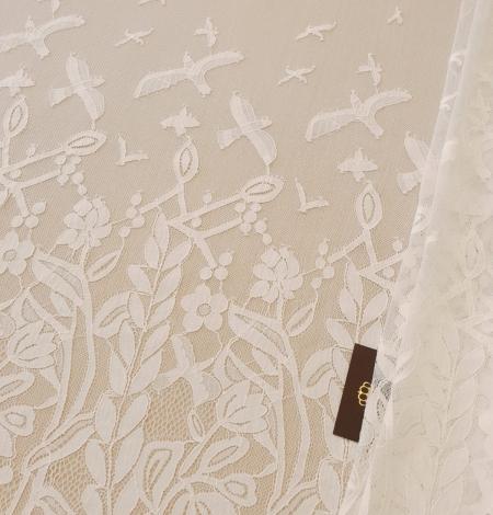 Ziloņkaula puķaina Chantilly mežģine. Photo 1