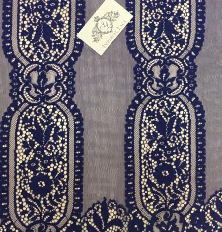 Dark Blue Lace Fabric. Photo 3