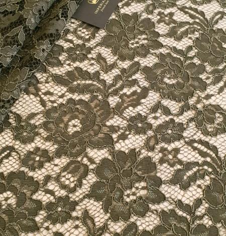 Dark haki green guipue lace fabric. Photo 1