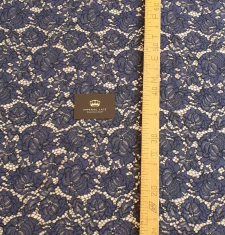 Bluish grey cotton polyester chantilly lace fabric . Photo 7