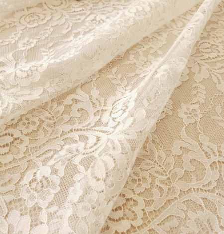 Ecru 100% polyester floral and stripes guipure lace fabric. Photo 6